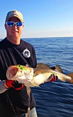 Luke with a nice Cod on the Reel Big Fish